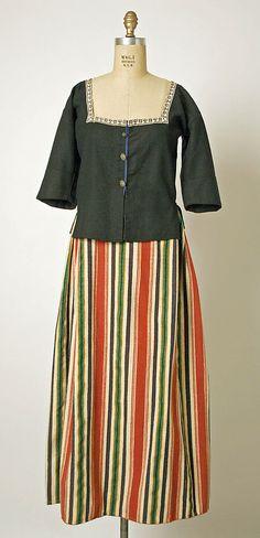 15-11-11  Ensemble                                                                                      Date:                                        1800–1941                                                          Culture:                                        Dutch                                                          Medium:                                        wool, cotton, metal