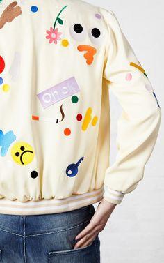 Cream Darcel Bomber Jacket by Mira Mikati for Preorder on Moda Operandi