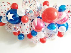 FREE SHIPPING Patriotic DIY balloon garland kit - star confetti red white blue balloon
