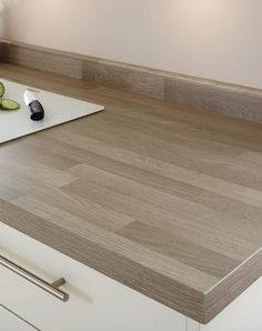 Grey Oak Block Effect Sqaure Edged Worktop and Upstand