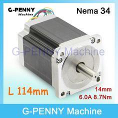 Compare Discount CNC NEMA 34 stepper motor 86X114mm 8.7 N.m 6A nema34 shaft 14mm stepping motor 1172Oz-in for CNC engraving machine, 3D printer! #NEMA #stepper #motor #86X114mm #nema34 #shaft #14mm #stepping #1172Oz-in #engraving #machine #printer!