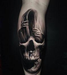 Done by —————————————————… – skull tattoo sleeve Pirate Skull Tattoos, Evil Skull Tattoo, Skull Rose Tattoos, Evil Tattoos, Skull Sleeve Tattoos, Scary Tattoos, Skull Tattoo Design, Tattoo Sleeve Designs, Leg Tattoos