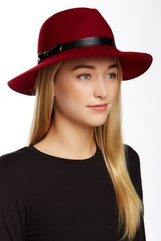 August Hat Faux Leather Bow Wool Hat