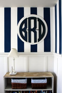 Navy Blue Lime Green Nursery Wall Art Print Personalized