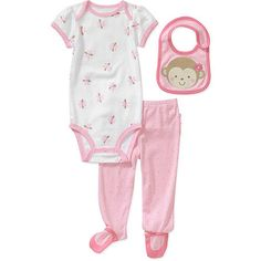 Child of Mine by Carters Newborn GIrls 3 Piece Monkey Bodysuit, Pant and Hat Set