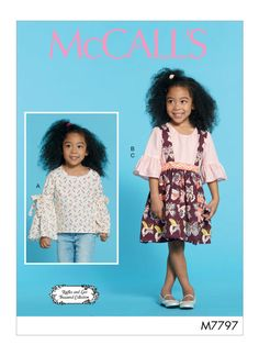 Children's/Girls Tops and Skirt - Easy Sew - McCall's Sewing Pattern Sewing Patterns For Kids, Mccalls Sewing Patterns, Kids Girls Tops, Shirts For Girls, Crochet Baby Pants, Hat Crochet, Irish Crochet, Patron Simplicity, Patron Butterick