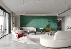 Hall Room Design, Decor Interior Design, Furniture Design, Living Area, Living Spaces, Neoclassical Interior, Futuristic Interior, Lounge Areas, Mid Century Design