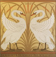 Originally created as a wallpaper dado panel, this design by Victorian illustrator and artist Walter Crane has been faithfully reproduced as a poster. It is hand-printed in eight colors, comes in two different colorways, and is suitable for framing.  Bradbury & Bradbury