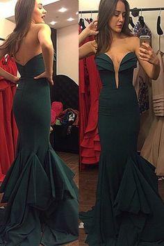 ec93f65e Mermaid Sweetheart Sweep Train Dark Green Prom Dress with Ruffles Dark  Green Prom Dresses, Green