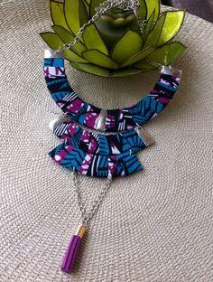 Collier pompon en wax tissu africain