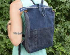 Items similar to denim backpack upcycled blue jeans drawstring bucket bag vintage boho hipster denim bag cinched top backpack recycled repurposed on Etsy Grunge Backpack, Hipster Backpack, Jean Backpack, Backpack Purse, Fashion Backpack, Floral Backpack, Drawstring Backpack, Blue Jeans, Jeans Azul