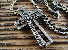 Mens Retro Burnished Gothic Separable Cross Pendant Necklace Chain Black Zirconia 77 by authfashion, $21.00