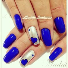 Blue with silver accents