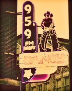 Ranch Neon Sign - 8x10 photograph - fine art print - vintage style photography - cowboy - rustic artwork - neon sign - cabin western art. $25.00, via Etsy.