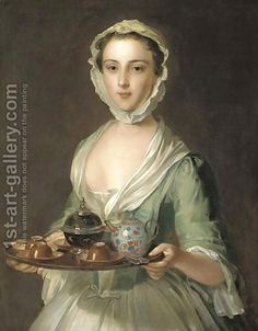 Philippe Mercier (French, - Portrait of a young woman, possibly Hannah, the artist's maid, holding a tea tray (oil on canvas) 18th Century Clothing, 18th Century Fashion, Tee Kunst, Tea Tray, Portraits, Belle Epoque, Oeuvre D'art, Art Gallery, Renaissance