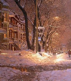Winter beauty in painting by Canadian artist Richard Savoie Winter Images, Winter Photos, Canadian Painters, Canadian Artists, Nocturne, Winter Illustration, Winter Love, Winter Scenery, Snowy Day