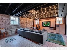 BASEMENT FINISHING IDEAS – These trendy completed basement ideas share a variety of fascinating methods you could acquire among one of the most from your added home. A finished basement layout gives you, family and friends a location to hang . Unfinished Basement Ceiling, Basement Ceiling Options, Basement Lighting, Basement Flooring, Ceiling Ideas, Flooring Ideas, Unfinished Basement Decorating, Modern Basement, Ceiling Lights