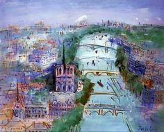 Paris, la Seine vers Notre-Dame  -  Jean Dufy (Raoul Dufy's brother)  French painter 1888-1964