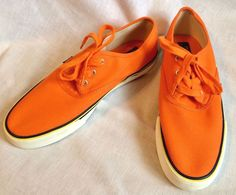 Polo Ralph Lauren Men's Canvas Sneakers Size 12D Orange Morray Fashion Shoes #PoloRalphLauren #BoatShoes