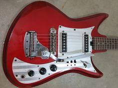 Vintage 1960s Teisco Del Rey Red Metallic Sharkfin Guitar
