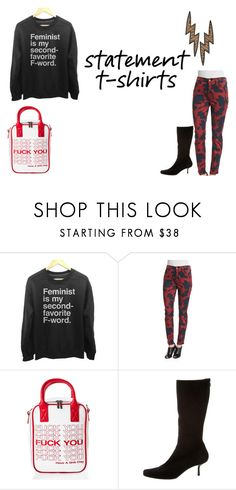 """""""Say What: Statement T-Shirts"""" by greerisahomo ❤ liked on Polyvore featuring Jen7, Current Mood and Prada"""