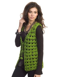 Yarnspirations.com - Caron Mary Kate Vest - Patterns  | Yarnspirations  Really nice for St Patrick's Day.