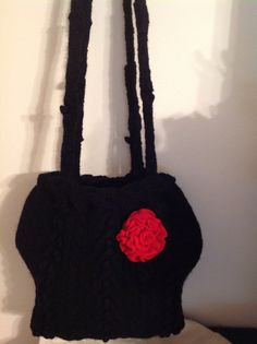 Felt Knit pattern Black wool Tote Bag by mcleodhandcraftgifts