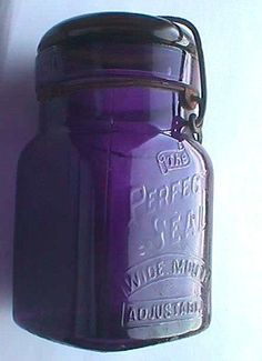 Rare Square Extreme PURPLE colored antique PERFECT SEAL canning jar small pint w/original working closure.