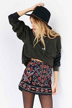 Ecote Nattie Embroidered Mini Skirt - Urban Outfitters
