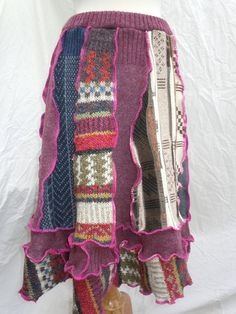 Upcycled patchwork sweater SKIRT with fuschia accents by RecycledGrace, $69.00