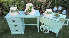 Bringing your own personal furniture for the cake display is a fun change