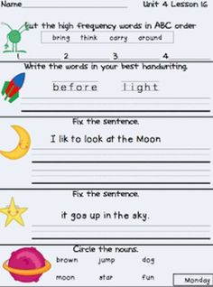 Journeys First Grade Daily Language Freebie Unit 4