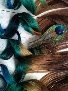 Peacock Inspired Hair Extensions//Human Hair//Golden Brown with Teal, Vibrant Blue and Green.    Indian Remy human hair, hand drawn and double wefted.    We use only Professional methods and materials.  Our extensions are AAA quality and color used is Professional that has extreme stay power.    ...