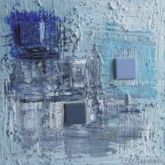 Kwadrat III. Obraz wykonany farbami akrylowymi z elementami kolażu, na płycie, zawerniksowany, sygnowany, nie wymaga oprawy, boki zamalowane w tonacji obrazu