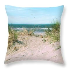 Sand Drifts Throw Pillow by Micki Findlay - TheSingingPhotographer.com - various sizes, home decor, cushion, bandon, beach, turquoise, sand drifts, beach decor
