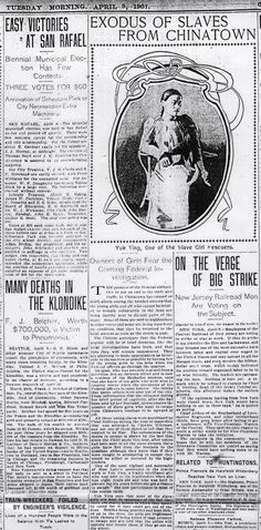Caroline Lee's (Yuk Ying) role in Methodist mission rescues. (San Francisco Examiner, April 9, 1901, p. 4).