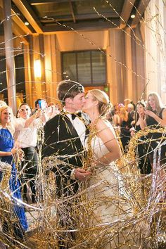 Create a stunning and stylish exit from your wedding with metallic streamers at The Ritz-Carton, Dallas.