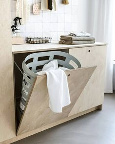 34 Fabulous Scandinavian Laundry Room Design Ideas - Its one of the most used rooms in the house but it never gets a makeover. What room is it? The laundry room. Almost every home has a laundry room and . Laundry Room Inspiration, Bad Inspiration, Laundry Room Organization, Laundry Room Design, Storage Organization, Scandinavian Bathroom, Scandinavian Style, Ikea Cabinets, Kitchen Cabinets