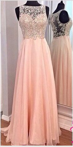 2016 New A-line High Neck Beaded Bodice Pink Chiffon Prom Dresses Formal Dress,see through back prom dresses,long evening prom dresses,custm made prom dress,graduation dresses, cheap prom dresses,homecoming dresses