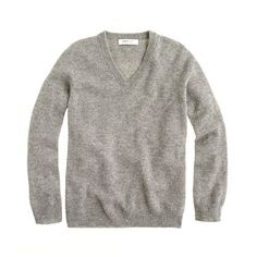 Kid's Cashmere V-Neck Sweater in Heather Grey from J. Crew