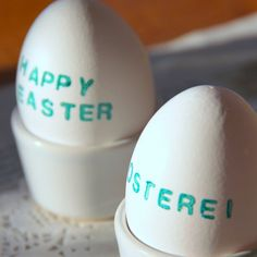 Go for the minimalist route when it comes to Easter egg decorating by sticking to a simple line of type.