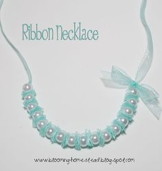 I like this type or ribbon for this pearl necklace! I like this type or ribbon for this pearl necklace! Ribbon Jewelry, Ribbon Necklace, Diy Necklace, Jewelry Crafts, Beaded Jewelry, Handmade Jewelry, Pearl Necklaces, Pearl Bracelets, Pearl Rings