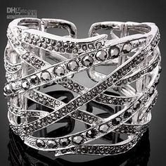 Bangle Alloy Jewelry multi Black Diamonds
