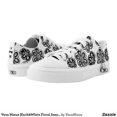 Veux Mieux Black&White Floral Sneakers For Women