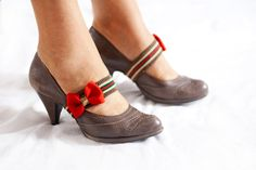 Red bow leg accessory for shoes with heels, striped green foot jewelry, wedding decor, brown wrap belts. $10.00, via Etsy.