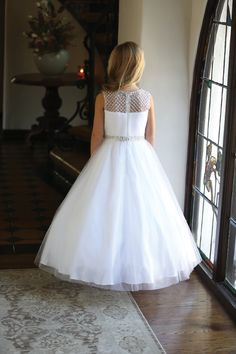 - Girls Dress Style White Intricately Beaded Dress with Matching Bolero - All First Communion Dresses - Flower Girl Dresses - Flower Girl Dress For Less Designer First Communion Dresses, Girls First Communion Dresses, Holy Communion Dresses, Dresses For Less, Dresses For Sale, Girls Dresses, Flower Girl Dresses, Pleated Bodice, Floral Lace