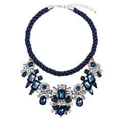 Alexa Navy Jewel Rope Necklace | Adorning Ava