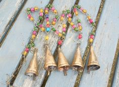Long Bells and Beads Windchime Door Hanger by BellsAndBaskets