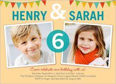 Bunting Abound Twin Birthday Invitation