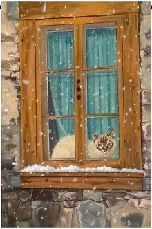 Staying Warm Siamese Cat in The Window Winter 2 Sided Breeze Decor House Flag | eBay